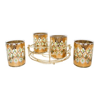 Mid Century Culver Valenica Glasses and Gold Caddy - Set of 4 For Sale