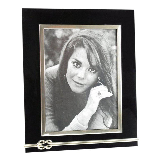 Mid-Century Modern Black Lucite and Chrome Picture Photo Frame For Sale