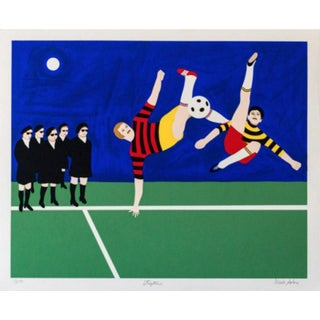 Mark Sabin Stop Time (Soccer) Hand Signed Numbered Screenprint For Sale