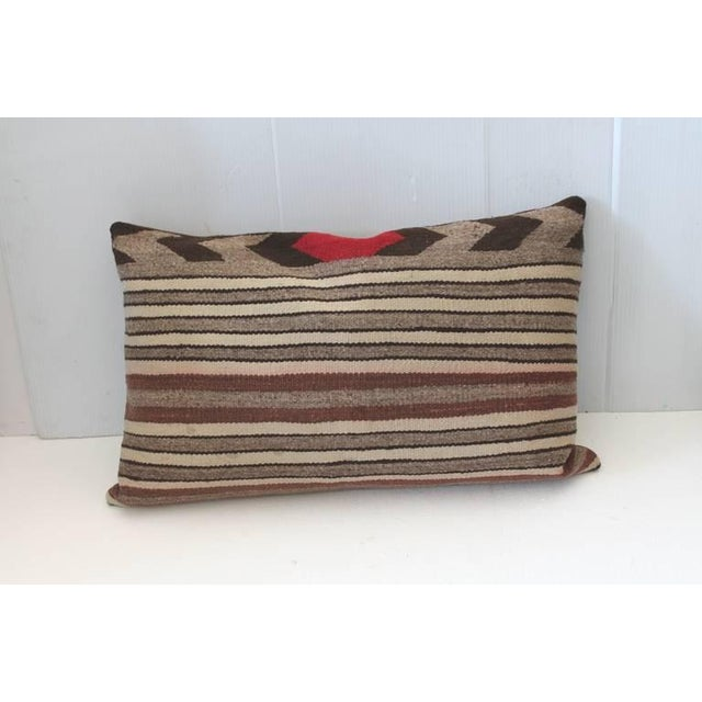 Early 20th Century Fantastic Pair of Navajo Saddle Blanket Weaving Pillows For Sale - Image 5 of 5