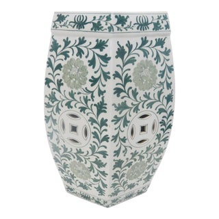 Chinese Green & White Garden Stool