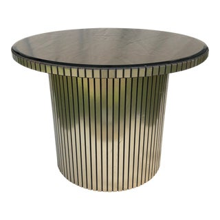 1980's Hollywood Regency Mirrored Round Cocktail Table
