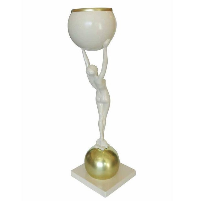 Art Deco Frankart Style Beige and Brass Nude Figural Cocktail Smoker For Sale - Image 3 of 6