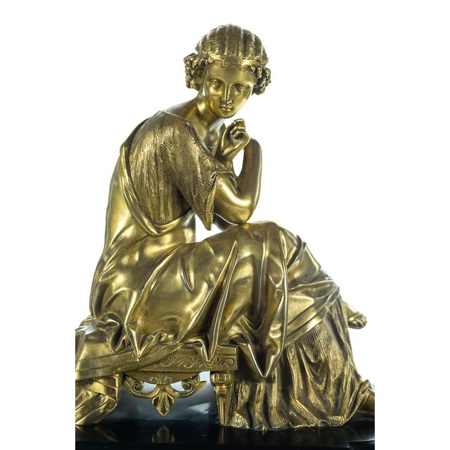 Gilt Bronze Figure on Marble & Malachite Clock For Sale - Image 4 of 9