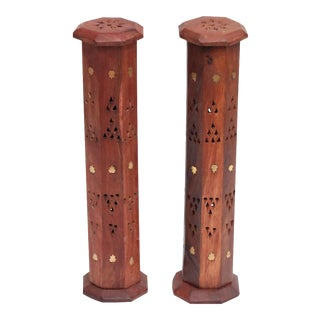 Octagonal Tower Incense Burners with Brass Inlay, A Pair For Sale