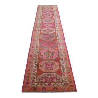 1970s Vintage Hand Knotted Runner For Sale