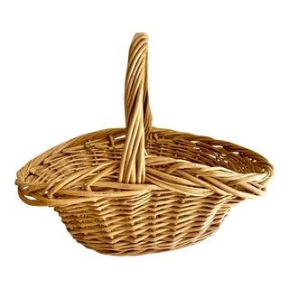Rustic Natural Wood Decor & Storage Basket For Sale