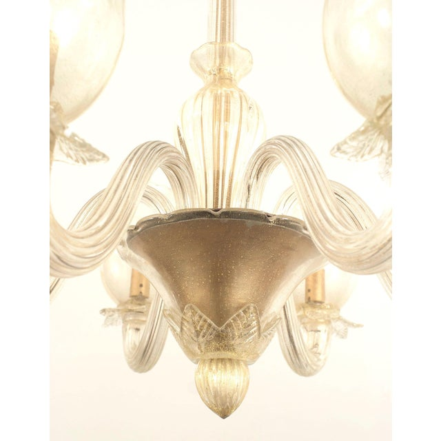 Barovier & Toso 1940s Italian Murano Gold Dusted Chandelier by Barovier Et Toso For Sale - Image 4 of 5