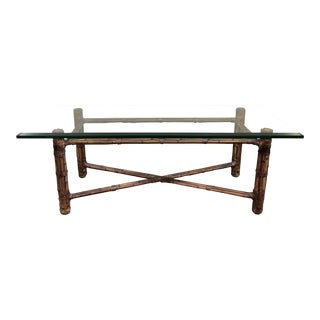 McGuire Vintage Bamboo Rectangle Cocktail Table For Sale