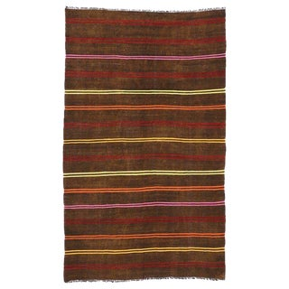 "20th Century Turkish Striped Kilim Rug - 7'6"" X 12'3"""