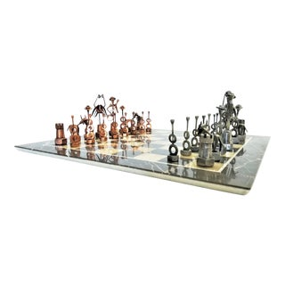 Vintage Mid Century Modern Italian Marble and Onyx Chess Set - Spanish Flamenco Inspired - Brutalist Cubist Artistic Minimalist For Sale