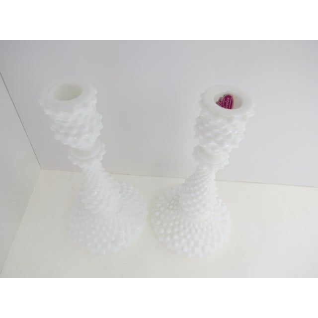 Milk Glass Hobnail Candlesticks - A Pair - Image 3 of 5