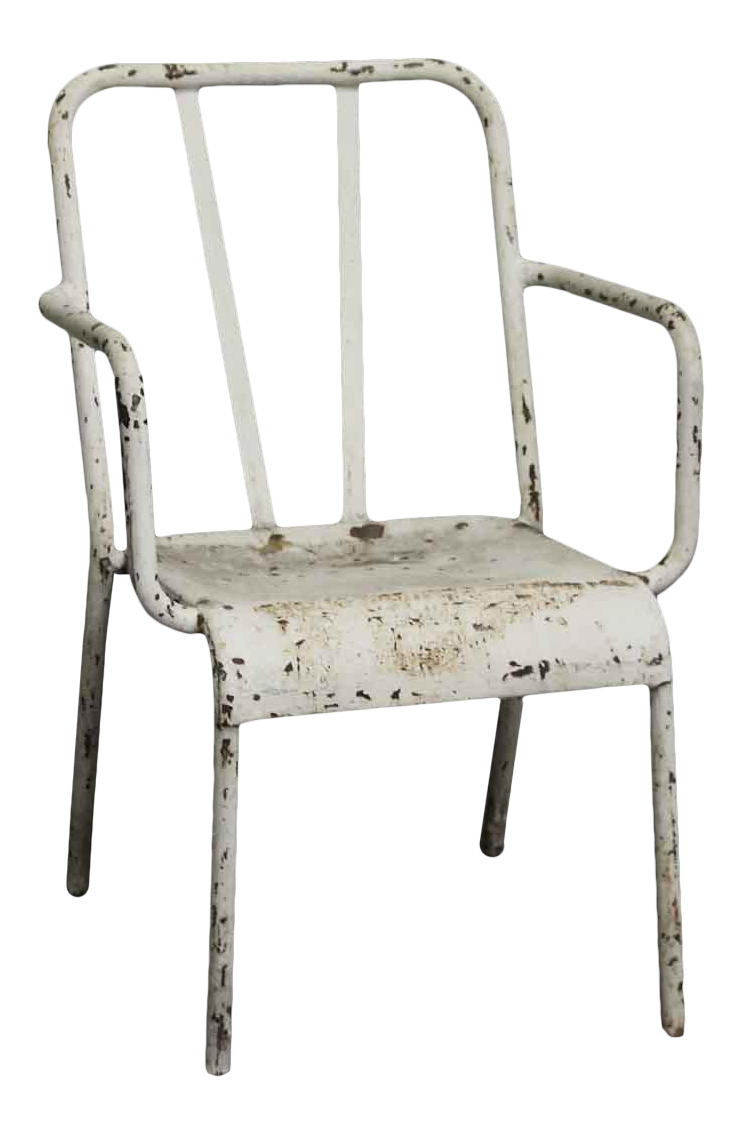Vintage Distressed White Tolix Arm Chair