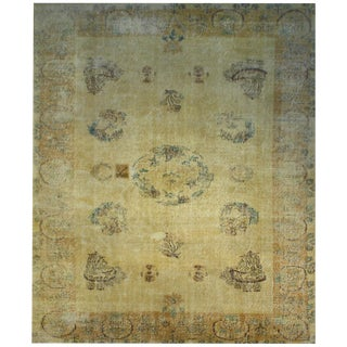Vintage Turkish Distressed Yellow Overdyed Wool Rug - 6′8″ × 9′7″
