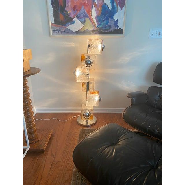 Mid-Century Modern Mazzega Murano Glass Chrome Floor Lamp For Sale - Image 3 of 5