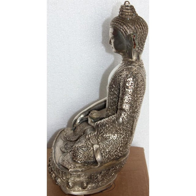 Silver Plated Sitting Buddha For Sale In Greensboro - Image 6 of 7