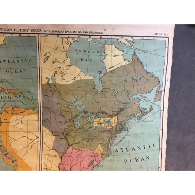Vintage North & South America Pull Down Wall Map - Early Paper on Linen - Image 6 of 11