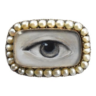 19th Century Lover's Eye Georgian Seed Pearl Brooch For Sale