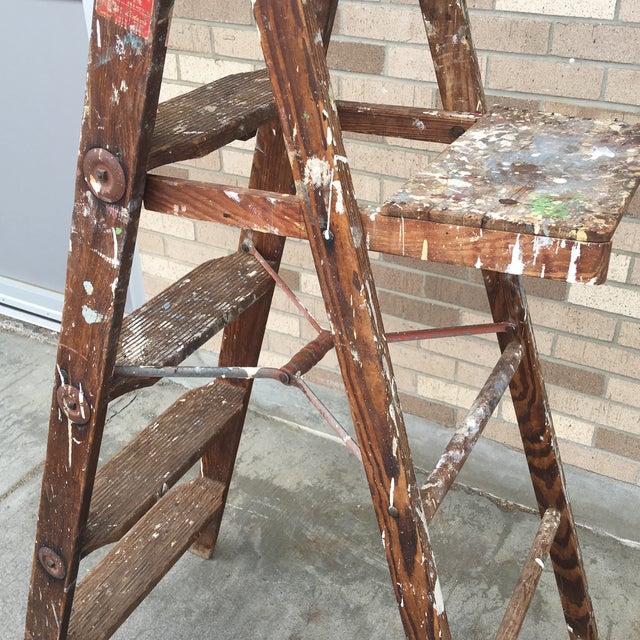 1950's Vintage Paint Splattered Painters Ladder - Image 4 of 7