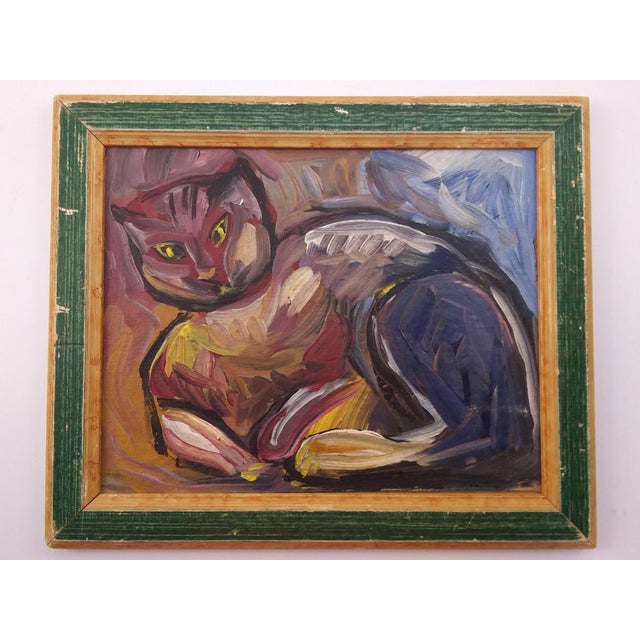 Vintage Mid-Century Portrait of Feline Painting For Sale In Atlanta - Image 6 of 6