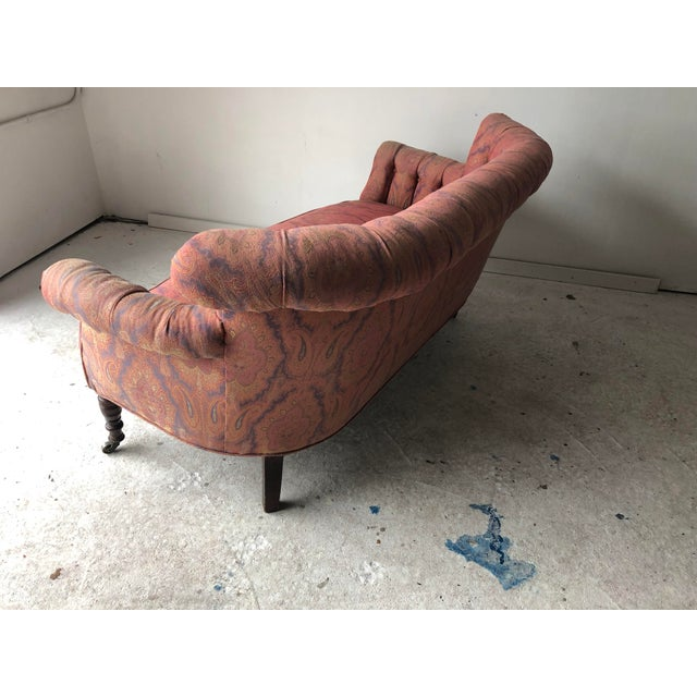 Wood English Traditional Paisley Upholstered Loveseat Frame For Sale - Image 7 of 11