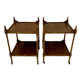 Pair of Walnut Global Views Side Tables For Sale