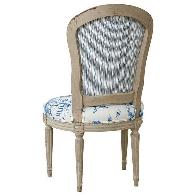 18th Century French Side Chair Upholstered in Schumacher Fabric For Sale - Image 4 of 7
