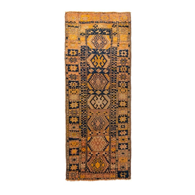 Islamic Vintage Yellow Turkish Runner Rug 3'x8' For Sale - Image 3 of 5