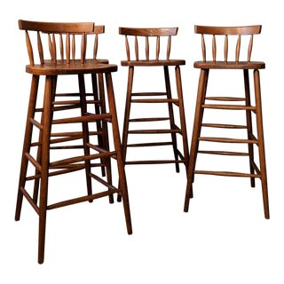 Mid-Century Modern Set of 4 Bar Stools Salmanson & Co. Nyc For Sale