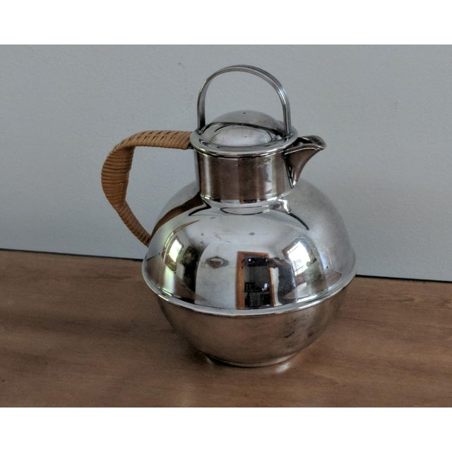 Art Deco 1940s Art Deco International Silver Co. Guernsey Milk Jug With Rattan Handle For Sale - Image 3 of 9