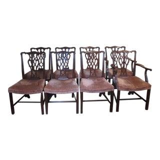Mahogany Chippendale Style Dining Room Chairs - Set of 8