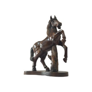 Carved Wooden Horse on Wood Stand