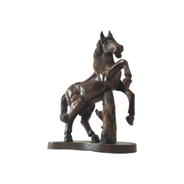 Carved Wooden Horse on Wood Stand - Image 1 of 10