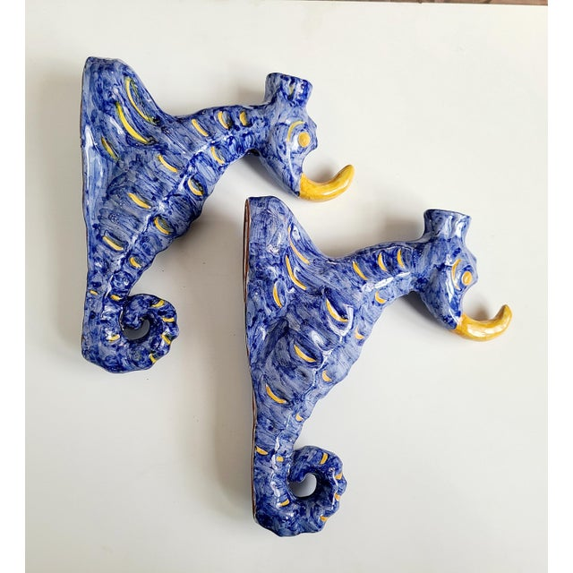 1950s Ceramic Blue and Yellow Seashorses Wall Sconces, From Capri - a Pair For Sale - Image 13 of 13