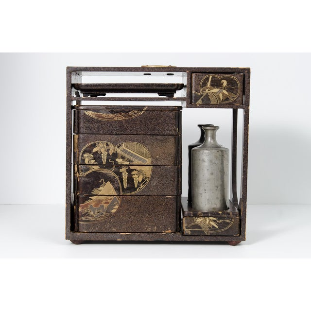 Japanese Lacquer Picnic Set Box For Sale - Image 9 of 9