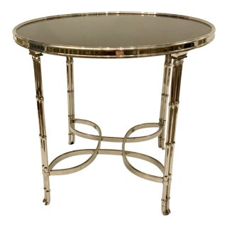 Global Views Modern Silver Finished Bamboo Leg Accent Table For Sale