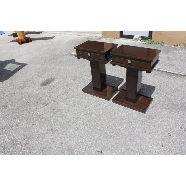 French Art Deco Macassar Ebony Nightstands - A Pair - Image 2 of 10