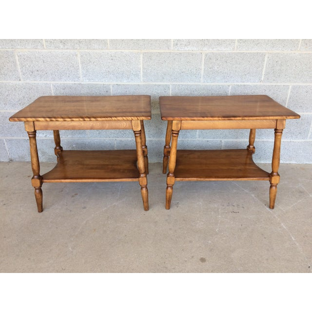 French Provincial Cushman Colonial Maple End Tables - A Pair For Sale - Image 3 of 10