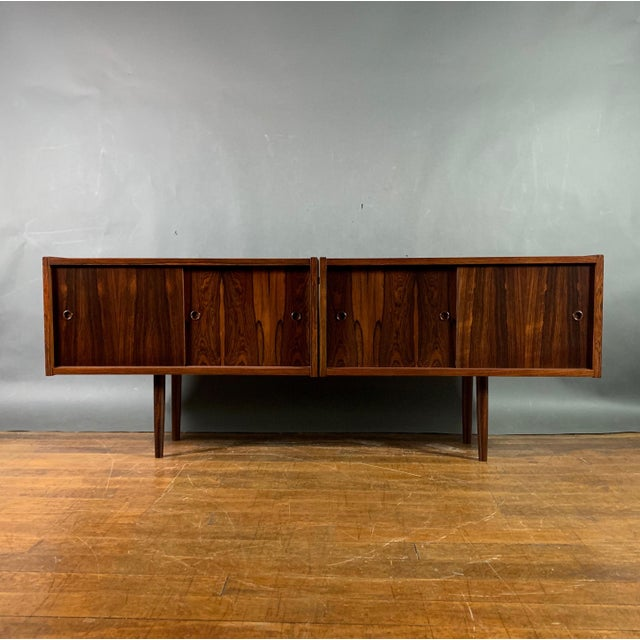 Peter Sorenson Double Low Rosewood Credenza, Denmark 1950s For Sale - Image 11 of 11