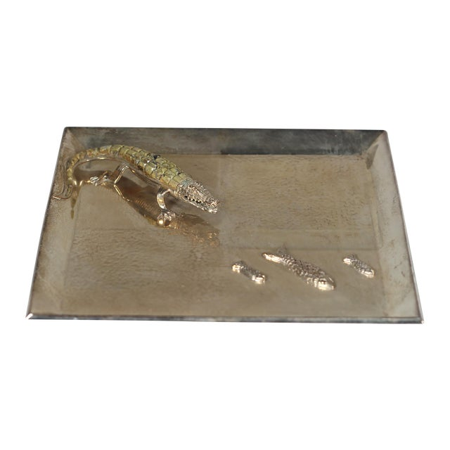 Silver Plated Alligator and Fish Tray - Image 1 of 5