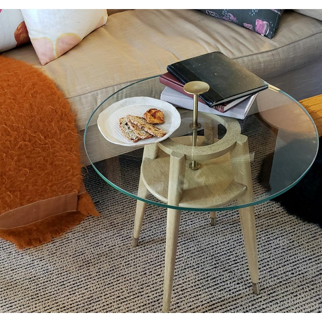 """1960s Mid Century Modern Brass Cocktail """"Cigarette"""" Table For Sale - Image 11 of 12"""