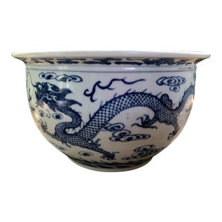 20th Century Chinoiserie Blue & White Porcelain Dragon Jardiniere For Sale