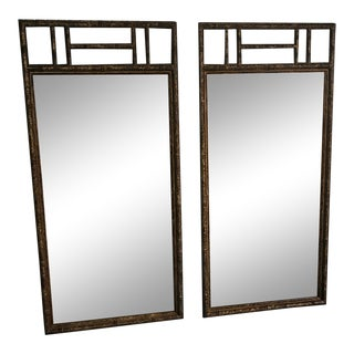 Vintage Hollywood Regency Henredon Faux Tortoise Shell Bamboo Mirrors - a Pair For Sale
