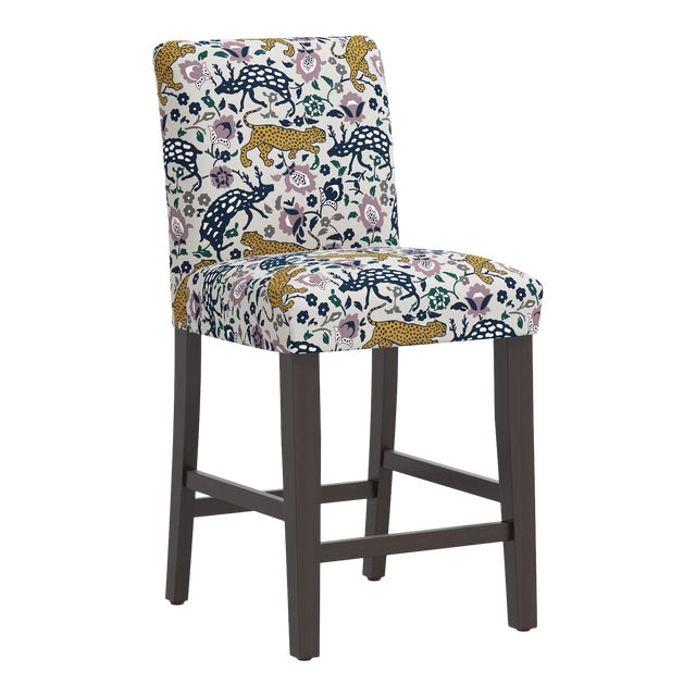 Leopard Mustard Plum Fabric Counter Stool For Sale