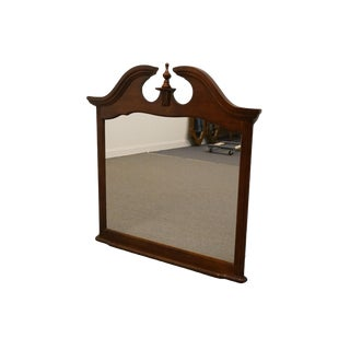 Bassett Style Traditional Cherry Landscape Pediment Mirror For Sale