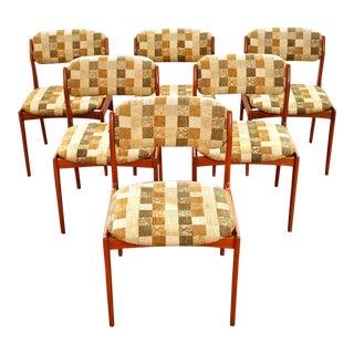 Vintage Mid Century Danish Modern Benny Linden Teak Dining Chairs- Set of 6 For Sale