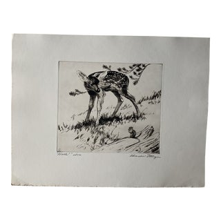 """1950s """"Hello!"""" Naturalist Landscape Artist Proof Print from Wood Etching by Churchill Ettinger For Sale"""