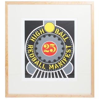 "Robert Indiana ""Highball on the Redball Manifest"" 1997 Framed Serigraph Signed For Sale"