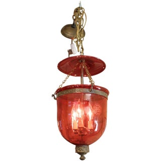 Cranberry Glass Hall Lantern For Sale