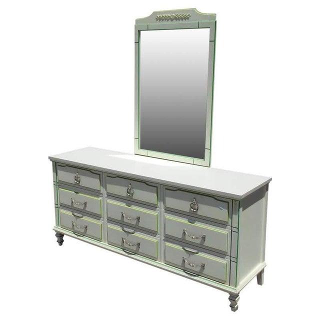 Veneer Morris of California 9 Drawer Dresser Cabinet and Mirror For Sale - Image 7 of 7